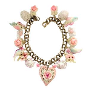 Pastel Celluloid Hearts, Flowers, and Birds Charm Bracelet