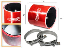 """RED Silicone Coupler Hose 3.0"""" 76 mm + T-Bolt Clamps Air Intake Intercooler MT"""