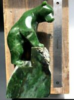 9.75 inch Canadian Jade Climbing Bear Carving by Lyle Sopel
