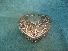 Mary Kay Silver Tone Heart Shaped Trinket Box/Blue Velvet Lined (item# S679)