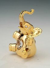"SWAROVSKI CRYSTAL ELEMENTS ""Elephant"" FIGURINE - ORNAMENT 24KT GOLD PLATED"