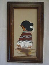 NATIVE AMERICAN INDIAN WALL ART NAVAJO GIRL FRAMED SAND PAINTING PAUL GARCIA
