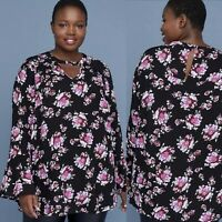 New Lane Bryant Womans Floral Tunic Sz 14 Long Bell Sleeve NWT