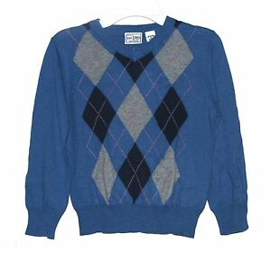 New $28 THE CHILDRENS PLACE V-Neck Argyle Sweater Long-Sleeve Pullover Boys Sz 4