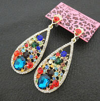 Women's Multi-Color Crystal Rhinestone Waterdrop Betsey Johnson Stud Earrings