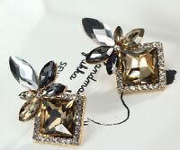 1 Pair Elegant Brown Crystal Rhinestone  Ear Drop Dangle Stud long Earrings 171