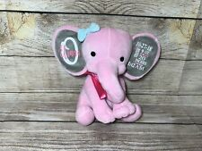 Baby birth stat stuffed elephant plush announcement Personalized Pink Or Gray