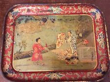 Antique Hand Painted Toleware Oriental Chinese Tin Tray, Dragon
