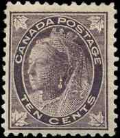 Canada #73 mint F-VF OG HR 1897 Queen Victoria 10c brown violet Maple Leaf
