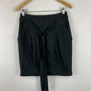 Cue Womens Skirt Size 10 Black Striped Straight Tie Belt Made Australia 233.02