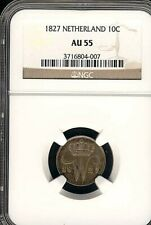 NETHERLANDS 10 CENTS 1827 NGC CERTIFIED AU 55 SILVER COIN (Stock# 329)