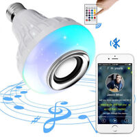 RGB LED Wireless Bluetooth Bulb Light Speaker 12W Smart Music Play Lamp + Remote