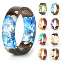 Vintage Resin Ring Wooden Flower Rings Handmade Clear Finger Ring Jewelry Gift