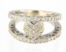 Stunning 18k White Gold Diamond Heart Cluster Ring Size 5.5
