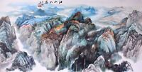 Mountain scenery view-ORIENTAL ASIAN FINE ART CHINESE SANSUI WATERCOLOR PAINTING