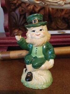 "Vintage Mid Century Leprechaun Resin Plastic 4.5"" Pipe Smoking Figurine"