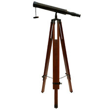 "Unidecor Nautical Marine 18"" Brown Brass Telescope With Floor Tripod Stand"