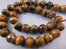 Tiger's Eye Faceted Round 10mm Beads 39pcs