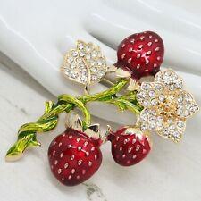 Statement Enamel Strawberries on Vine Flower & Leaf Crystal BROOCH Pin Jewellery
