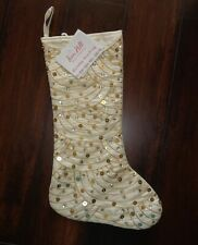 Fern Hill Holiday Christmas Stocking Beige Gold Embroidered Sequin Embellished