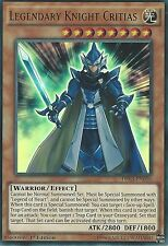 3 X YU-GI-OH ULTRA RARE CARD: LEGENDARY KNIGHT CRITIAS - DRL3-EN056 -1st EDITION