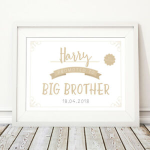 Promoted To Big Brother Personalised Print Name Kids Wall Art New Sibling Gift