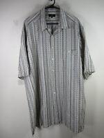 Zanella mens blue gray black khaki striped button shirt 2XT TALL Italy EUC