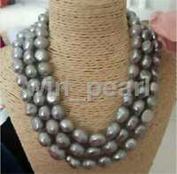 stunning 12-13mm tahitian baroque silver grey pearl necklace 50 inch 925S