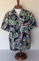 Aloha Republic VTG Multi Color Parrot Blue Hawaiian Camp Shirt Mens Sz L