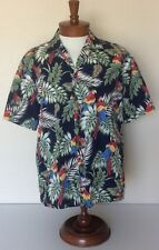 Aloha Republic VTG Multi Color Parrot Blue Hawaiian Camp Shirt Mens Sz L