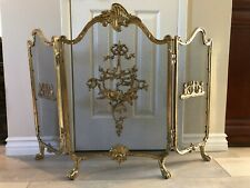 """Vintage 3 Panel Solid Brass Fireplace Screen, 30"""" Tall, 41 1/2"""" Widest"""