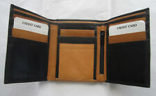 Black Tan Tri-fold Leather Wallet holds Photo ID Credit cards