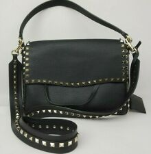 Valentino Garavani Medium Rockstud Black Leather Shoulder Bag Handbag Purse .