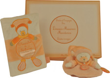 Doudou et Compagnie Ours bear orso teddy mandarine rond + carnet de santé orange