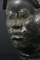 Life size IFE BENIN bronze African ONI King head - Nigeria Benin, TRIBAL ART