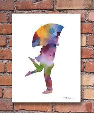 "Umbrella Love Abstract Watercolor 11"" x 14"" Art Print by Artist DJ Rogers"