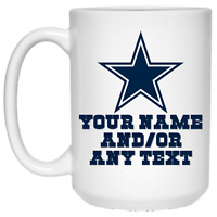 Custom Personalized Dallas Cowboys Star Logo White 15 oz Ceramic Coffee Mug Cup