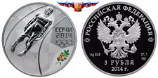 Russia 3 rubles 2014 Sochi Olympic Games Luge Silver 1 oz PROOF