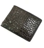 Dark Brown Crocodile Alligator Skin Leather Men's Bifold Wallet