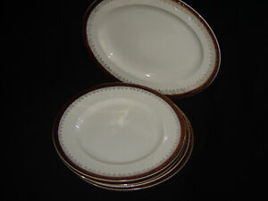 ALFRED MEAKIN BURGUNDY/GOLD DINNER PLATE (4) + OVAL PLATE