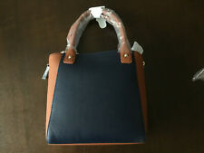 Neiman Marcus colorblock Faux-Leather Satchel handBag navy/brown tote purse