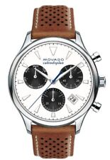 NEW Movado 3650008 Swiss Heritage Watch 43mm Calendoplan Congnac Leather
