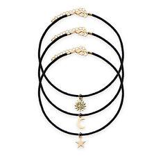 3x Vintage mujer oro estrella Luna Sol colgante negro collar gargantilla