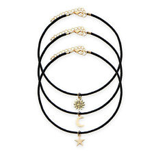 3x Vintage Women Gold Star Moon Sun Pendant  Black Cord Choker Necklace JS