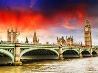 LONDON WESTMINSTER PARLIAMENT BIG BEN BRIDGE THAMES RIVER PRINT POSTER BMP2146A