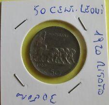 50 centesimi rigati 1920 tipo Leoni contorno rigato- nr 708