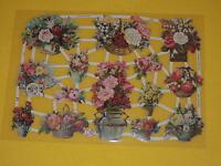 1x Poesiebilder Oblaten 264 Blumenkörbe  Glanzbilder rosen korb schubkarre Blume