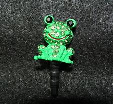 1 Cellphone 3.5mm Rhinestone Dust Plug Cute Green Frog