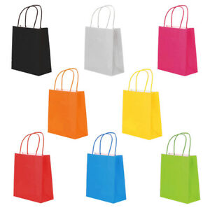 COLOR PAPER BAGS WITH HANDLES SMALL LARGE 100 50 25 FOR PARTY GIFT SWEET CARRIER