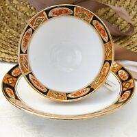 Vintage Royal Albert Footed Tea Cup & Saucer Set Rust & Gold Geometric Floral